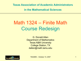 – Finite Math Math 1324 Course Redesign Texas Association of Academic Administrators