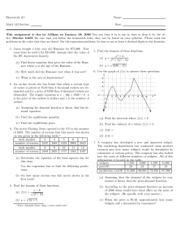 Homework #1 Name: Math 142 Section: Row: