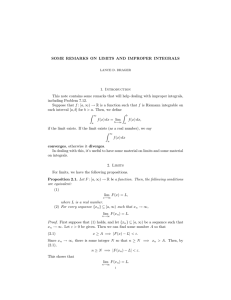 SOME REMARKS ON LIMITS AND IMPROPER INTEGRALS 1. Introduction