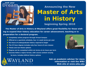 Master of Arts in History Dream Announcing the New