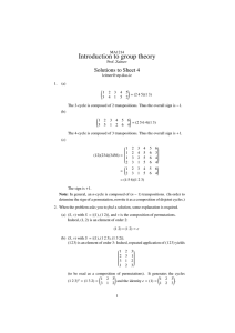 Introduction to group theory Solutions to Sheet 4