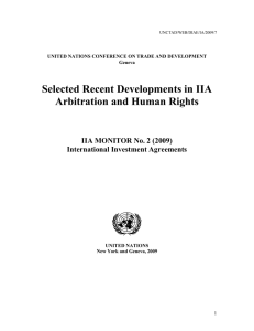 Selected Recent Developments in IIA Arbitration and Human Rights International Investment Agreements