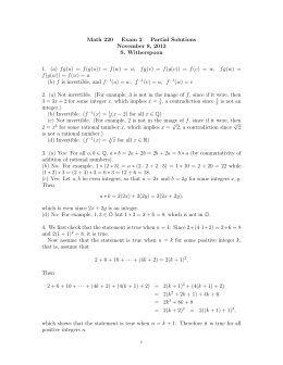 Math 220 Exam 2 Partial Solutions November 8, 2013