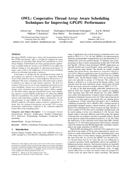 OWL: Cooperative Thread Array Aware Scheduling Techniques for Improving GPGPU Performance