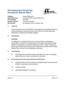 Pre-employment Screening Procedures Manual 400-A 1. General
