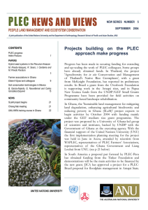 PLEC NEWS AND VIEWS PEOPLE LAND MANAGEMENT AND ECOSYSTEM CONSERVATION