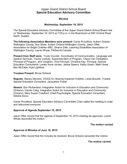 Upper Grand District School Board Special Education Advisory Committee