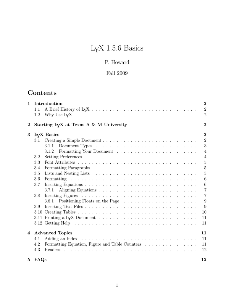 LYX 1 5 6 Basics Contents P  Howard Fall 2009