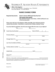 NAME CHANGE FORM  (the names must match).