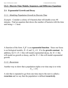 Ch 2:  Discrete-Time Models, Sequences, and Difference Equations