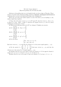 MA 1111: Linear Algebra I Homework problems due November 26, 2015