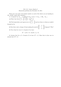 MA 1111: Linear Algebra I Homework problems due December 10, 2014