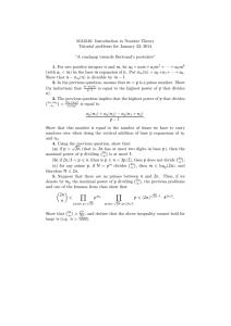 MA2316: Introduction to Number Theory Tutorial problems for January 23, 2014