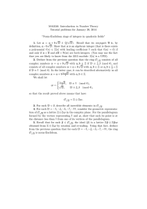 MA2316: Introduction to Number Theory Tutorial problems for January 30, 2014