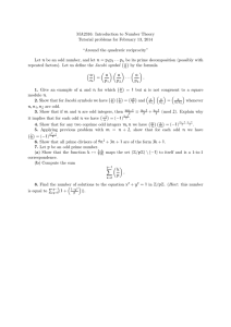 MA2316: Introduction to Number Theory Tutorial problems for February 13, 2014