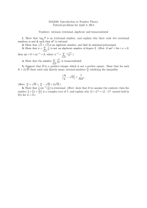 MA2316: Introduction to Number Theory Tutorial problems for April 3, 2014