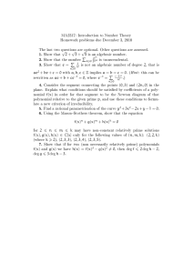 MA2317: Introduction to Number Theory Homework problems due December 3, 2010