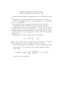 MA2317: Introduction to Number Theory Homework problems due December 16, 2010
