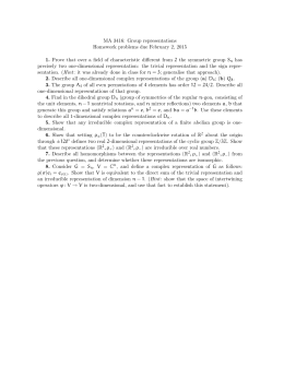MA 3416: Group representations Homework problems due February 2, 2015
