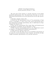 MA3413: Group Representations I Tutorial questions, February 11, 2015