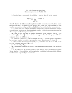 MA 3416: Group representations Homework problems due April 2, 2015