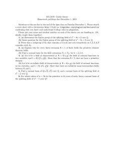 MA 3419: Galois theory Homework problems due December 1, 2015