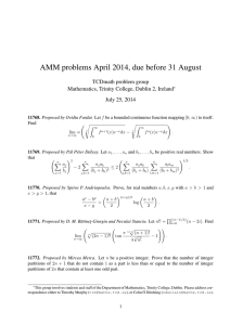 AMM problems April 2014, due before 31 August TCDmath problem group