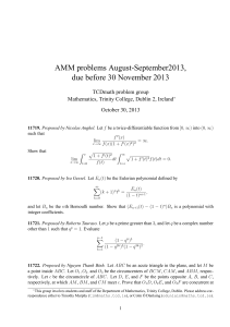 AMM problems August-September2013, due before 30 November 2013 TCDmath problem group