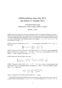 AMM problems June-July 2013, due before 31 October 2013 TCDmath problem group