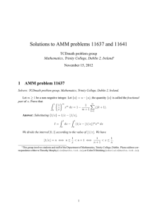 Solutions to AMM problems 11637 and 11641 1 AMM problem 11637