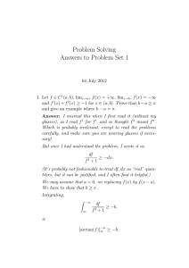 Problem Solving Answers to Problem Set 1