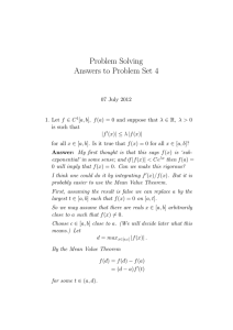 Problem Solving Answers to Problem Set 4