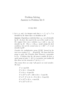 Problem Solving Answers to Problem Set 9