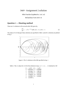 3469 - Assignment 2 solution Question 1 — Shooting method