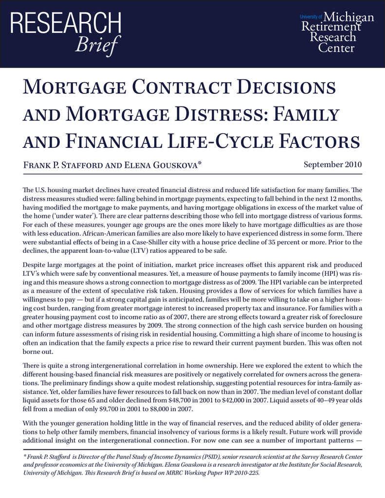 Research Brief Mortgage Contract Decisions And Mortgage Distress Family