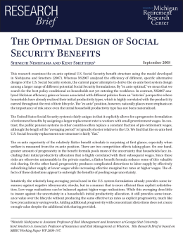 RESEARCH The Optimal Design of Social Security Benefits Brief
