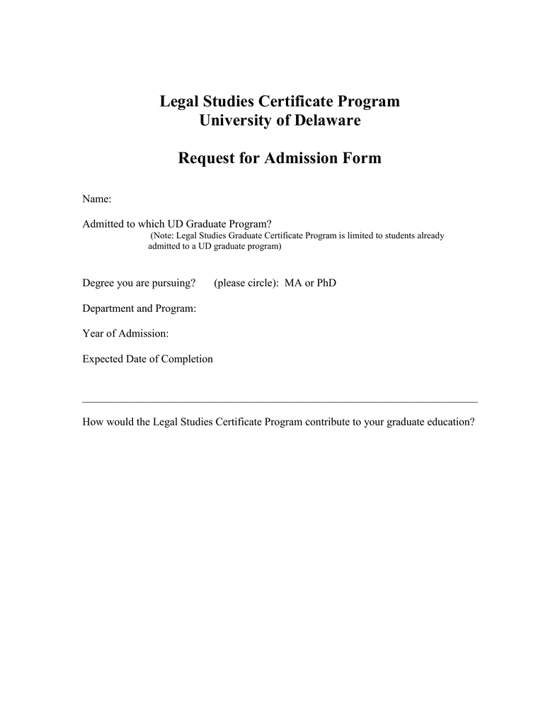 Legal Studies Certificate Program University Of Delaware Request For