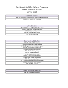 Division of Multidisciplinary Programs Minor Studies Electives Spring 2016 Classical Studies