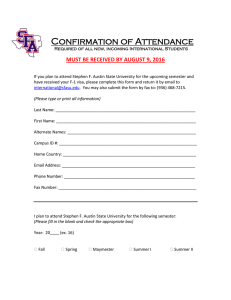 Confirmation of Attendance MUST BE RECEIVED BY AUGUST 9, 2016