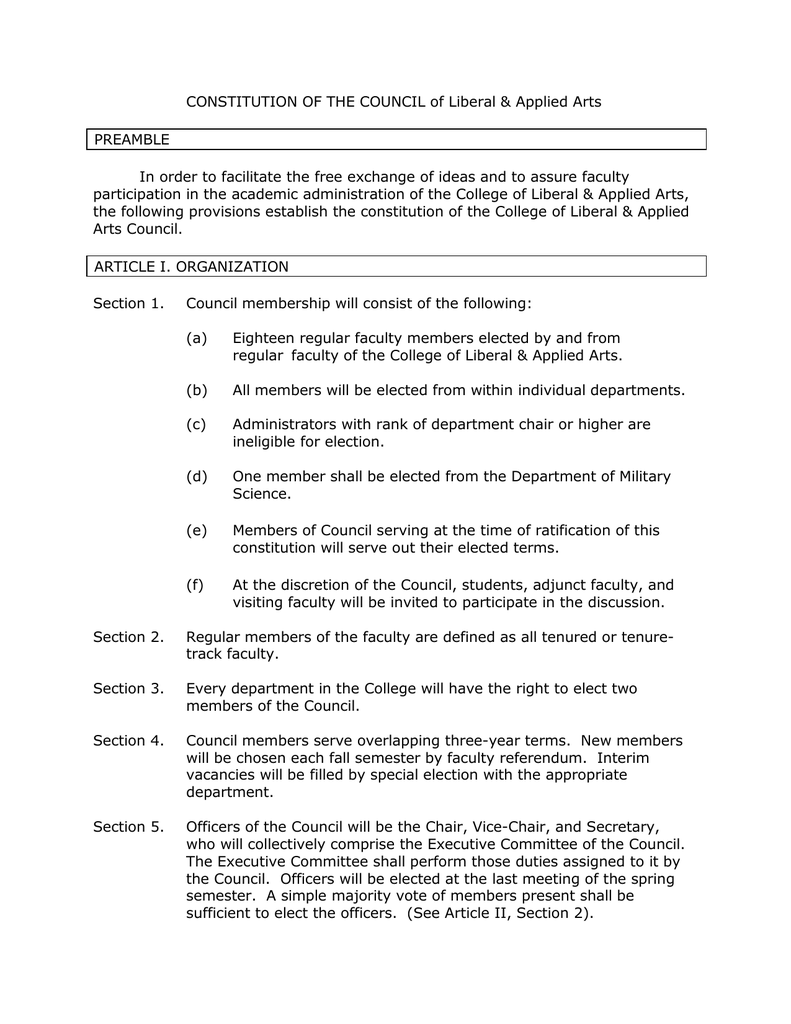 Constitution Of The Council Of Liberal Amp Applied Arts Preamble