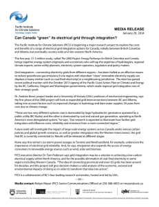 "MEDIA RELEASE Can Canada ""green"" its electrical grid through integration?"