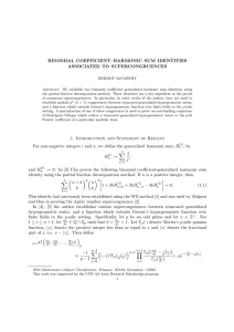 BINOMIAL COEFFICIENT–HARMONIC SUM IDENTITIES ASSOCIATED TO SUPERCONGRUENCES