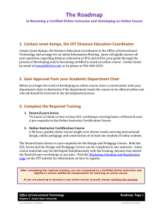 The Roadmap  1. Contact Janet Kamps, the OIT Distance Education Coordinator