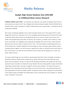 Media Release Guelph High School Students Give $293,988