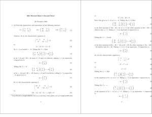 2E2 Tutorial Sheet 8 Second Term or λ