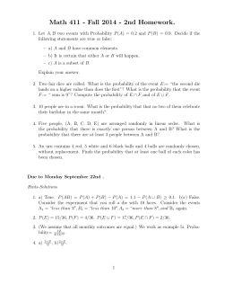 Math 411 - Fall 2014 - 2nd Homework.
