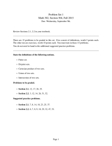 Problem Set 1 Math 302, Section 504, Fall 2015