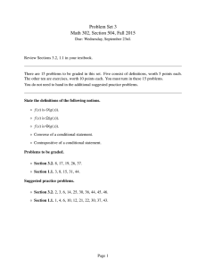 Problem Set 3 Math 302, Section 504, Fall 2015