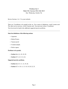 Problem Set 5 Math 302, Section 504, Fall 2015