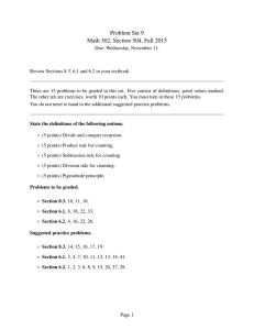 Problem Set 9 Math 302, Section 504, Fall 2015